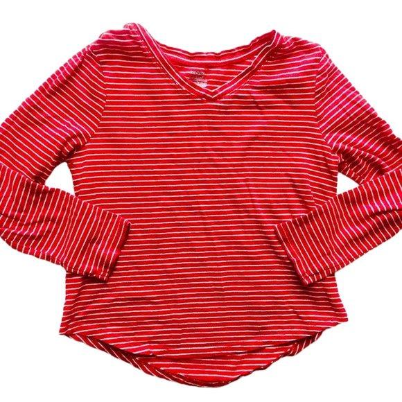 Red Striped V-Neck Swing Long Sleeve Shirt